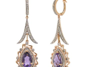 4.62 TCW Cabochon Purple Amethyst & Diamond 14K Rose Gold Dangle Drop Earrings