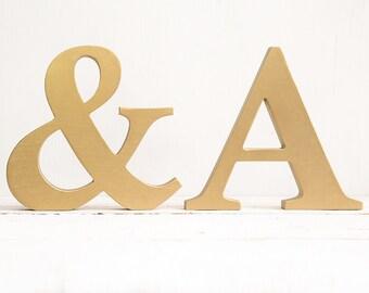 Gold letters - gold wood letter - decorative letters - free standing letters - decor letters - gold initial - wall decor - standing letters