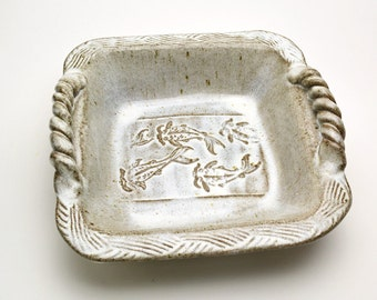 Stoneware Baking Dish Square Koi Fish Design Buttermilk Glaze