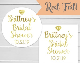 Gold Foil Bridal Shower Stickers, Diamond Bridal Shower Labels, Gold or Color Foil Labels (#430-F)