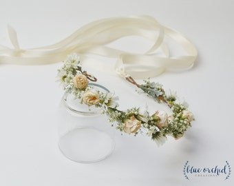 Flower Crown, Dried Babys Breath, Babys Breath Flower Crown, Beige Flower Crown, Boho Flower Crown, Artificial Flower Crown, Wedding Crown