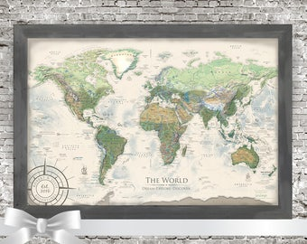 World map wall art etsy world map personalized map of world map travel gifts custom travel map pushpin world map gumiabroncs