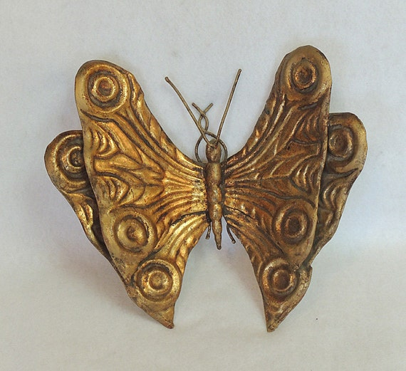 """Vintage Mid Century Made In Italian Metal Toleware Butterfly 10"""" Gold Florentine"""