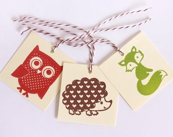 Woodland Animals Tag Set 15 Blank zoo baby shower treat tag party