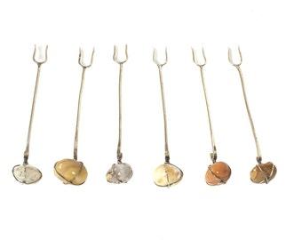 Set of 6 Sterling Silver Appetizer Forks // Handmade // One of a Kind