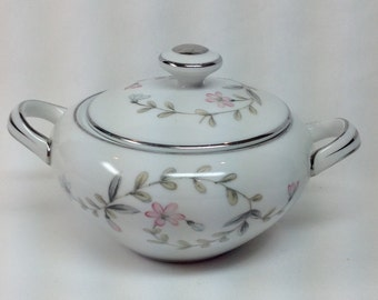 Vintage Harmony House Linda Porcelain Sugar Bowl w Lid Pink White Flowers Green Grey Leaves Silver Trim