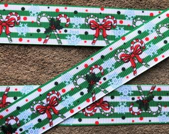 "3 yards Candy Cane Christmas Grosgrain Hair Bow Ribbon 1"" Christmas Dots hair bow ribbon Winter ribbon Christmas Wrap ribbon"