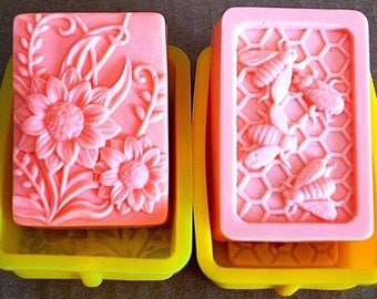 Silicone molds - silicone flower Mold - flower Soap Mold - silicone honeybee mold - honey bee soap mold - silicone bee mold - beehive mold
