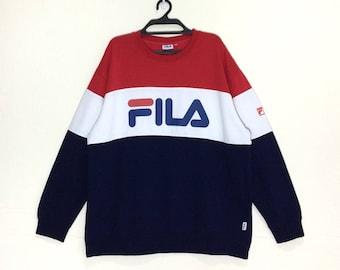 Rare!! Fila small logo sweatshirts black colour M size OCXu80