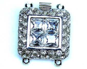 CLSP101SP 2 Strand Silver Rhodium Square Clasp with crystals Elegant Elements