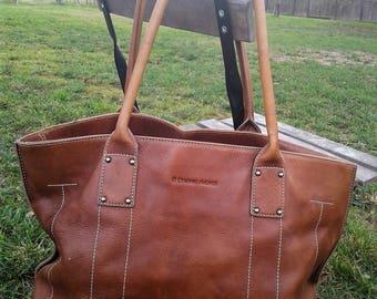 Etienne Aigner Brown Leather Handle Bag Purse Bucket Boho Large Tote Handbag