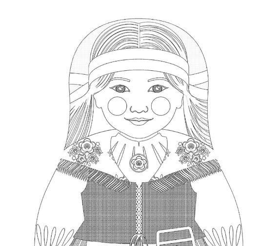 Finnish Doll Folk Dress Coloring Sheet Printable, matryoshka
