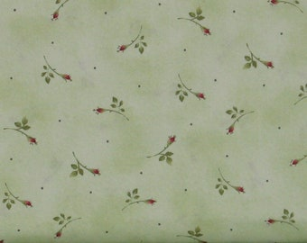 Small Red Rosebuds with Green Leaves on Light Green Cotton Quilt Fabric, Roses on the Vine Collection by Marti Michell, Yardage, MAS7887-G
