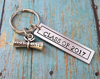 Graduation Keychain - Graduation Gift - Graduate - Graduation - Graduate Keychain - Class of 2017 - High School Graduation - Gift for Grad