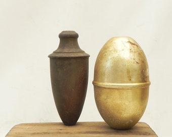 "2 Vintage Metal Lamp Chandelier Breaks Spacers Caps LAMP PARTs 5-3/4""H & 6""H  Assemblage Craft Supply"