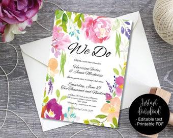 Wedding Invitation Template, Printable Editable Wedding Invite, Reception invite, Day invite, Floral Watercolor PDF Invite, Border 6 INV-6