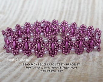 Bead Pack BB-209 Lilac Lizbeth Bracelet, Free Tutorial by Teejay Joyce and Linda Genaw Available Separately, BB209 Lilac Lizbeth Bead Pack