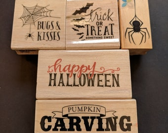 Wood Mounted Rubber Stamp Halloween Collection 5 PC.