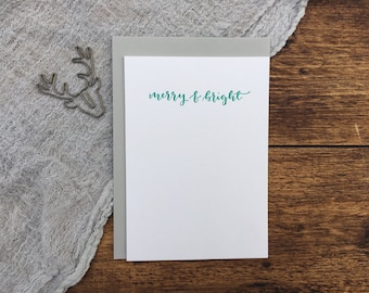 Merry & Bright Christmas Letterpress Card. Christmas Card. Greeting Card. Letterpress. Green Christmas Card. Simple Card.