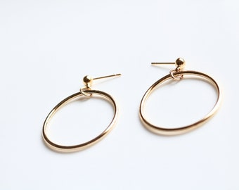 Gold Ring Earrings - Open Circle Earrings - Ring Earrings - Minimal Earrings - Stud Earrings - Gold filled Earrings