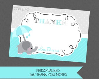 Sweet Elephant Baby Shower Sprinkle Thank You Notes - Teal Gray