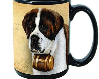 Saint Bernard Faithful Friends Dog Breed 15oz Coffee Mug Cup