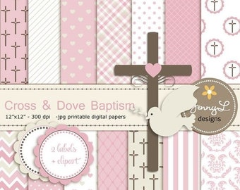 50% OFF Cross Dove Clipart, Girl Baptism Digital Papers, First Communion, Holy Week Spirit Scrapbooking Paper, Christening, Baptismal, Dedic