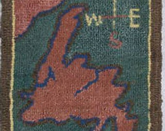 """Grenfell Mat, """"Map of Newfoundland"""" Antique Hand Hooked Rug, Mounted for Hanging with Original  Label, #16800"""