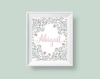 Floral Name Print, Personalized Baby Girl Wall Decor, Watercolor Delicate Blush Pink Green Custom Nursery Print 8x10 or 5x7 Digital Download