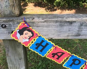 Snow White Princess Happy Birthday Banner Customizable