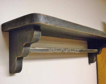 Primitive Shelf with Bar - Made To Order, Wood Shelving, Large Quilt Shelf, Towel Shelves