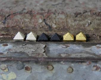 Metal Pyramid Stud Earrings: Black, Silver, or Gold!