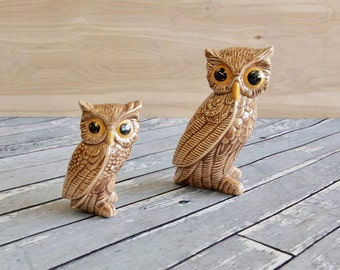 Vintage Ceramic Owl Figurine Pair