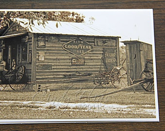 Antiques-Blank note card- greeting card-building-rustic-vintage-photography-print-photo