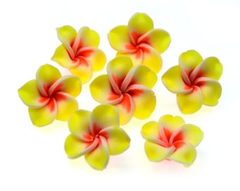 Yellow Polymer Clay Flower Beads, 10pcs, 20mm,  Fimo  Flowers -B778