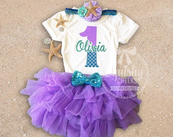 Mermaid Birthday Outfit, First Birthday Outfit, Little mermaid birthday outfit, Mermaid 1st Birthday Outfit, Purple and Aqua, Mermaid Party