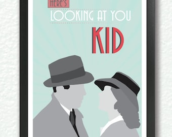 """Casablanca,Classic Movie Poster, quote poster, romantic print, """"here's looking at you kid"""", Retro Art Deco, A3 Poster"""