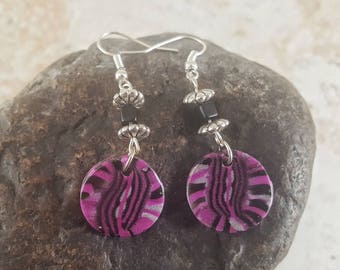 Pink, Black and Silver earrings, Abstract Dangle earrings, Polymer Clay earrings, Women's earrings, gifts under 15, gift idea for her