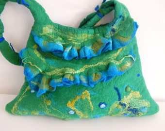 Big handbag - Felted bag - Large handbag - Green handbag - Fashion bag - OOAK Felt handbag