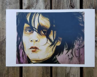 Edward Scissorhands johnny depp tim Burton movie art print