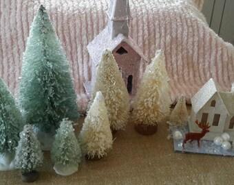 """7 pc set SUGARED bottle brush trees 1 1/2"""" to 6"""" AQUA decoration"""