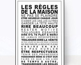 R gles de la maison poster num rique affiche d co cadeau - Affiche regle de la maison ...
