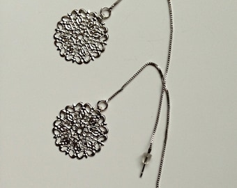 Silver Medallion Threaded Earrings