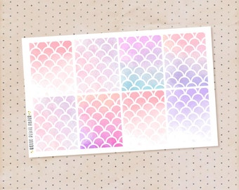 Watercolor pink scales, full box stickers - 8 decorative matte stickers for planners / erin condren sized