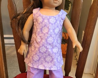 "Tank style tunic with capris fits 18"" dolls such as American girl"