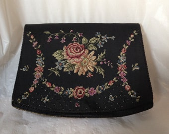 Vintage Petit Point Clutch Needlepoint Roses on Black Crepe Handbag