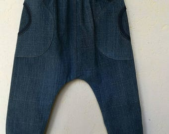 Elastic waist pants in jeans with pockets and knee pads