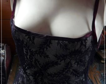 Exclusive handmade ~ black stretch lace top. Approx. UK 10/12.