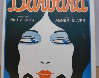 Vintage 1927 Sheet Music BARBARA Flapper Art Deco