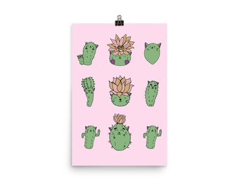 Catus Art Print, pink, illustration, character deign, baby room decor, super cute collection, 12 x 18